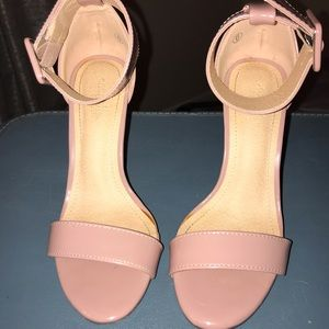 Rose/ Pink Faux Patent Heels W/ thick Ankle
